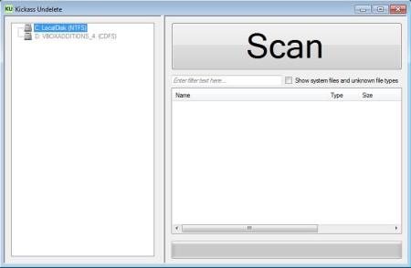 Kickass Undelete default window