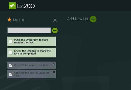 List2DO Minimalistic To Do App For Windows 8