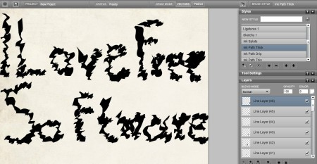 LiveBrush wrote text ink blot