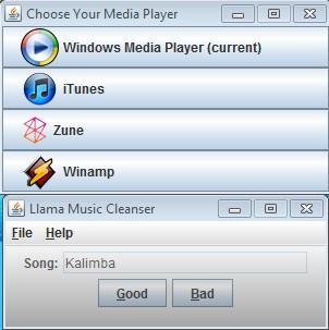 Llama Music Converter selecting media player
