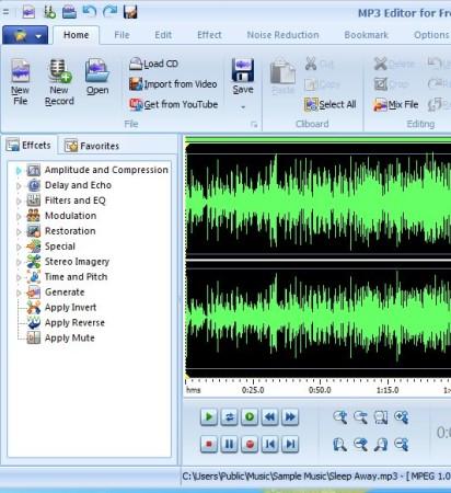 MP3 Editor audio track open