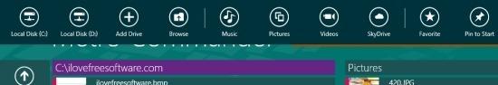 Metro Commander for windows 8 option panel