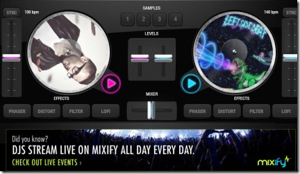 Online DJ Application To Play, Mix Songs From Mixify, Soundcloud