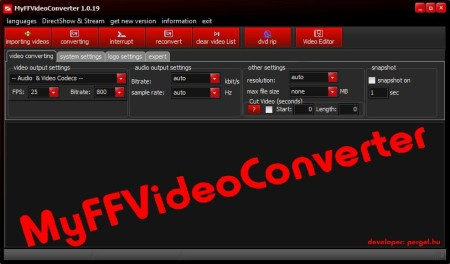 MyFFVideoConverter free audio and video converter default window