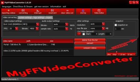 MyFFVideoConverter imported video