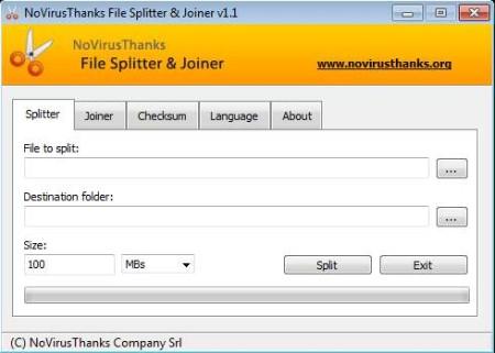 NoVirusThanks File Splitter And Joiner default window