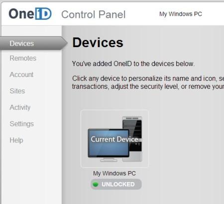 OneID default window