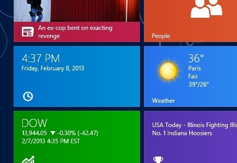 Show Time On Start Screen In Windows 8
