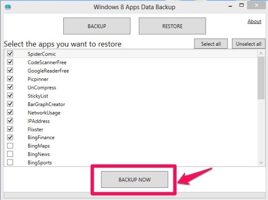 Steps to backup Windows 8 App Data