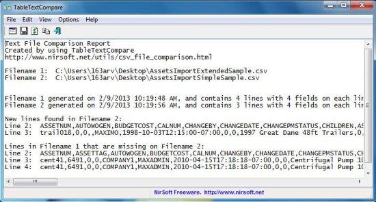 TableTextCompare file comparison