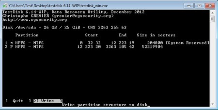 TestDisk write partition table
