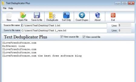 Text Deduplicator Plus opened document