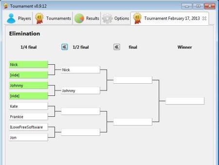 Tournament eliminations shown