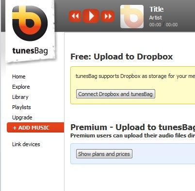 TunesBag adding dropbox stream