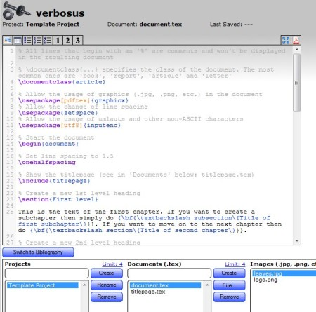 Verbosus default window