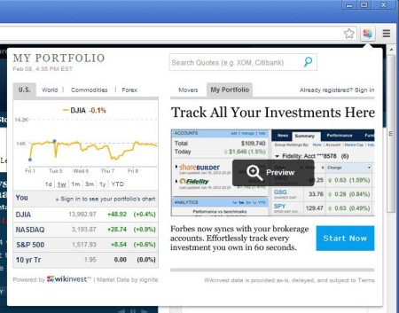 Stock price tracking extension default window