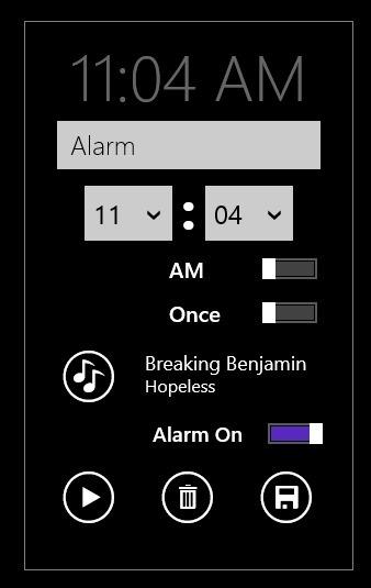 alarm set in windows 8