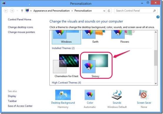 apply snowy theme for Windows 8