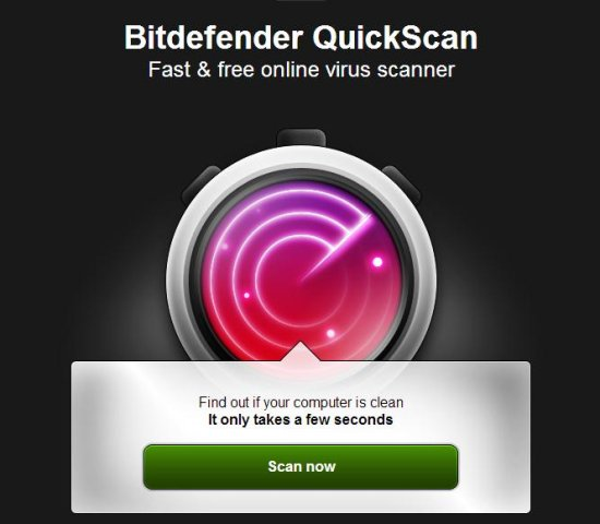 bitdefender quickscan online virus scanner interface