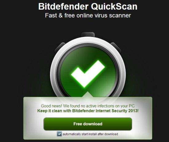 bitdefender quickscan result
