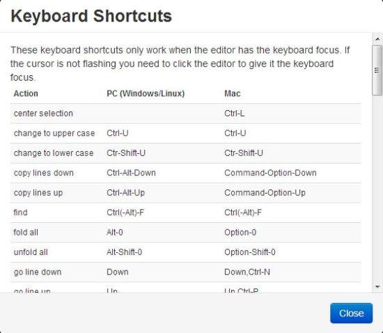 drive notepad keyboard shortcuts