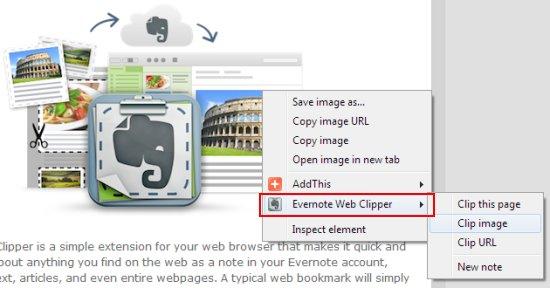 evernote web clipper context menu intergation