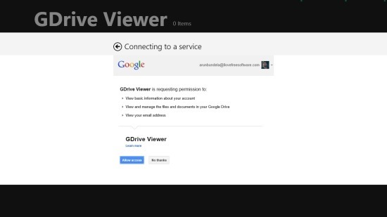 grant access to GDrive viewer in windows 8