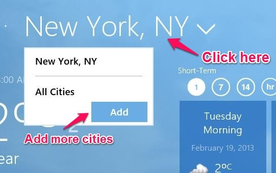 how to add more cities in windows 8 weather network app