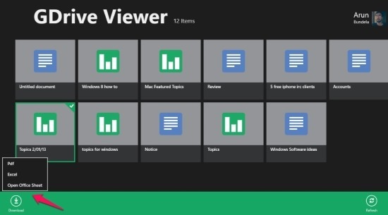 how to download file form google drive in windows 8 using GDrive viwer