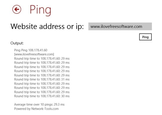 how to ping in Windows 8
