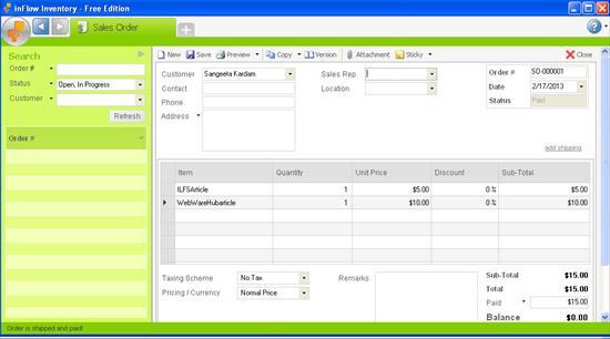 inflow inventory sales order