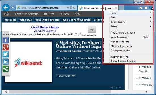 internet explorer 10 options