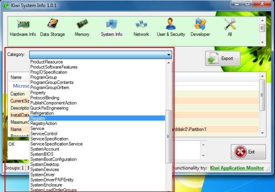 kiwi system info categories