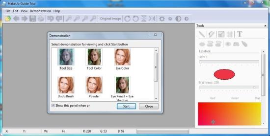 makeup guide interface