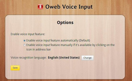 oweb voice input options