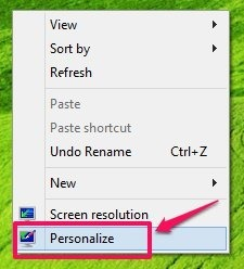 personalize options windows 8