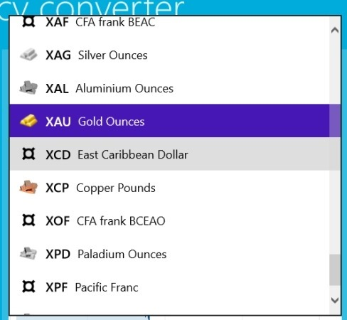 preicious metal list in currency converter