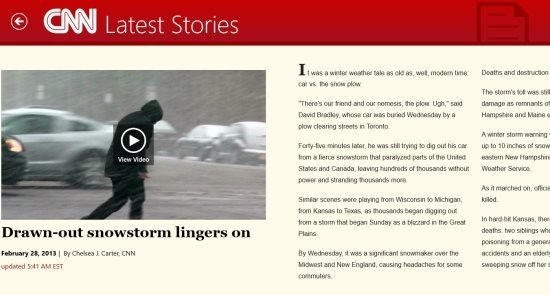 reading experiance in cnn app for windows 8