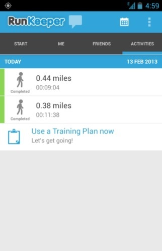 runkeeper for android activies log
