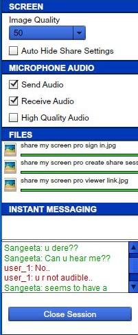 share my screen pro settings