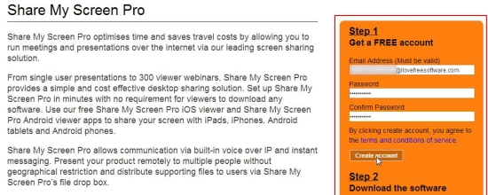 share my screen pro sign up
