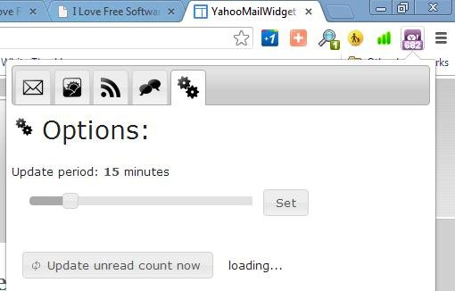 yahoo mail widget unread