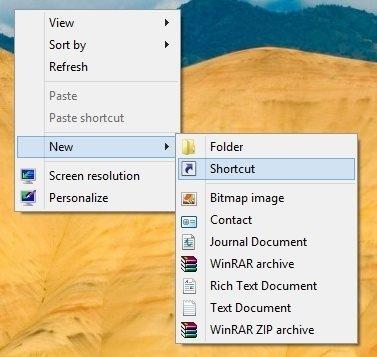 Adding the shutdown shortcut in windows 8