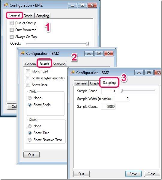 Bandwidth Monitor Zed Settings