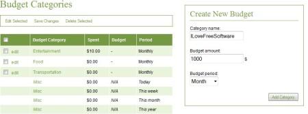 DoughHound budget categories