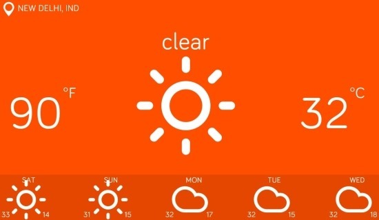 Features of minimalistic weather app for Windows 8