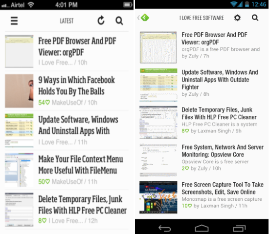 Feedly for Android and ios