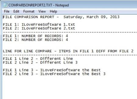File Compare Utility line by line comparison