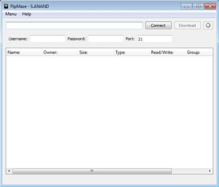 FtpMaze default window