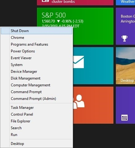 How To Add Shutdown Option To WinX Menu In Windows 8